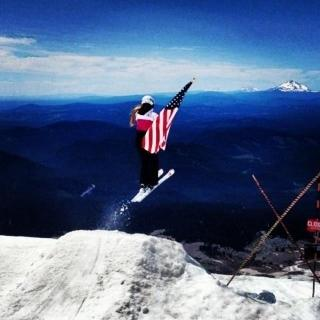 My daughter Graceat Mt. Hood, Oregon.She unfortunately is not with us on the 4th, but she celebrates in her own way...ski training on a glacier (this is where she is the happiest, perfecting her sport).