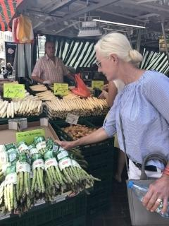 At the market, note all the white asparagus, and green as well.